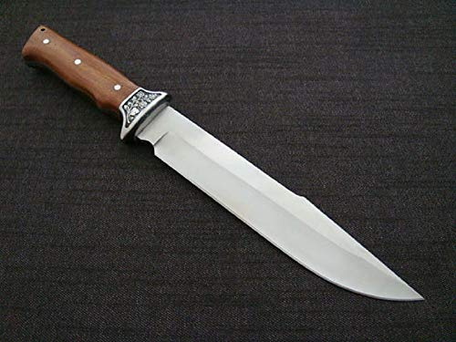 VIKING GEAR® riesen scharfes Messer mit Tasche - Jäger Messer - Abfangmesser mit Parierelement aus Metall und Holzgriff - Hunter Knife - 32,5cm Jagdmesser, braun