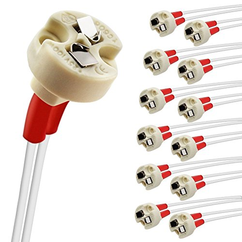 DiCUNO 12pcs Bi-Pin Base, G4, G6.35, GY6.35, GX5.3, GU5.3, MR16, GZ4 MR11, Halogen Incandescent Led Socket Ceramic Body Lamp holder (12pcs)