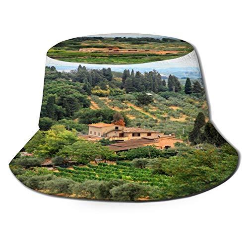 TTLUCKY Angelhut Fischerhut,Scenic View Bauernhaus Weinberge und schöne Sommerlandschaft in der Toskana Italien,Bonie Safari Sonnenhüte zum Wandern im Freien für Männer und Frauen