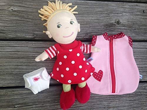 Puppenkleidung handmade KLEIDUNG Nachthemd + Schlafsack + Windel für Stoff-Puppen Gr. 20 , 30 oder 36-38 cm Mirle Mirli Miro Lilli Nele Lotta Paola Souri