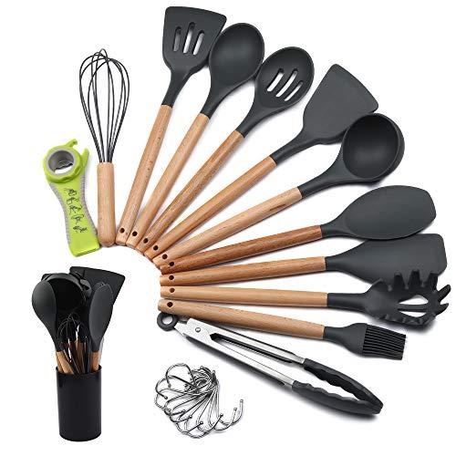 mreechan Küchenhelfer Set, Silikon-Kochgeschirr 23 Stück, hitzebeständiges Küchenset mit Holzgriffen Spachtel,Leicht zu reinigendes Antihaft-Kochgeschirr.Geeignet für Küchenanfänger und Profis.