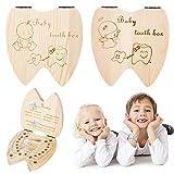 Caja de Dientes de Bebé, XiYee 2 Paquete Cajas de Almacenamiento, Infantil, Dientes Caducos, Grabado Personalizado Talla para Mantener la Memoria de la Infancia (niño y niña)