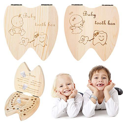 Boîte à Dents pour enfants, XiYee 2 PCS Boîte pour Dents de lait, Boîte à Dents pour garçons et filles, Cadeau pour enfants en Bois de Souvenir, Boîte en Bois pour Ranger les Dents