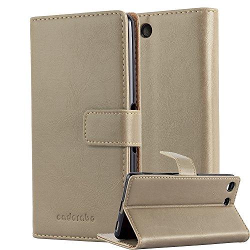 Cadorabo Hülle für Sony Xperia M5 - Hülle in Cappucino BRAUN – Handyhülle im Luxury Design mit Kartenfach & Standfunktion - Hülle Cover Schutzhülle Etui Tasche Book