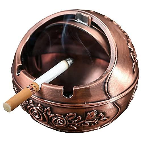 bdb Ceniceros Esférico con Tapa Artesanía De Socorro Cenicero De Cigarrillos De Aleación De Zinc para Jardín, Oficina, Interior, Exterior, Decoración (Color : Brass)