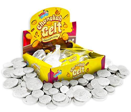 Hanukkah Gelt Coins Chocolate - Kosher Bittersweet Chocolate Coins (Parve) - 24 Mesh Bags Filled with Menora Embossed Hanukkah Gelt Coins