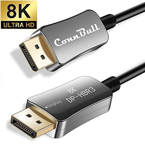 ConnBull 8K 4K DisplayPort 144Hz Kabel 15m, DisplayPort 1.4 Glasfaser Kabel Unterstützung HBR3 (7680x4320), 32.4 Gbit/s für Gaming Grafikkarte, Monitor