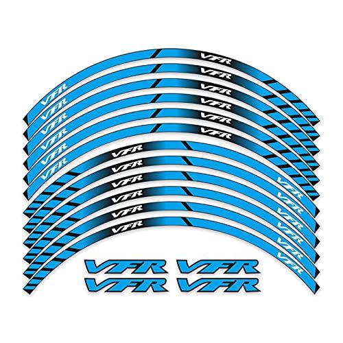 Wfrspavey Etiqueta engomada de la Motocicleta Moto Wheels Rims HUB Pegatinas Decoración Calcomanías Reflectantes Compatible con Ho*n*da VFR 750 800 1200x / F VFR750 VFR800 hnyxs (Color : Blue)