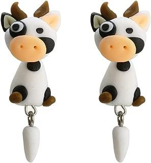 Fashion Women Cartoon Cow Fox Polymer Clay Stereoscopic Impalement Earrings Ameesi