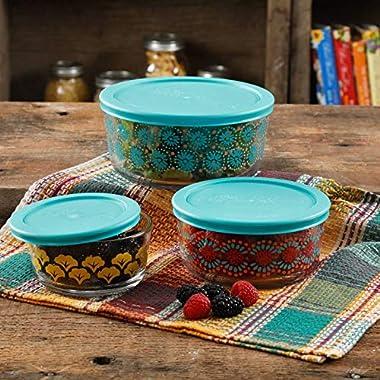 The Pioneer Woman Flea Market 6 Piece Glass Storage Bowls with Lids