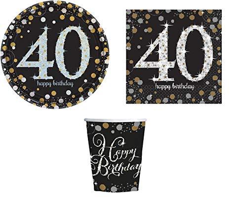 ILS I LOVE SHOPPING Kit Festa Coordinato Tavola Addobbi Party Set Compleanno con 8 Piatti 23cm, 8 Bicchieri e 20 tovaglioli (40 Anni, Set 8 Persone)