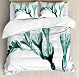 Ambesonne Flower Duvet Cover Set, X-ray Image of Flower on Simple Background Nature Inspired Illustration Print, Decorative 3 Piece Bedding Set with 2 Pillow Shams, King Size, Teal and White