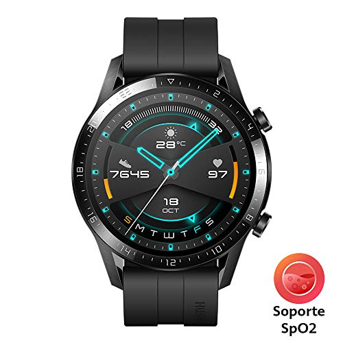 HUAWEI Watch GT 2 – Reloj Inteligente, 46mm,  3D Glass Screen, Bluetooth, Negro