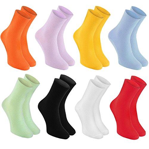 Rainbow Socks - Damen Herren Baumwolle Diabetiker Socken Ohne Gummibund - 8 Paar - Orange Gelb Lila Blau Grün Schwarz Weiß Rot - Größen 42-43