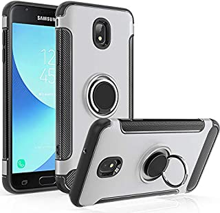 Galaxy J7 Refine Case,J7 2018,Galaxy J7 V 2nd Gen Case,J7 Star,J7 Aura,J7 Aero,Galaxy J7 Top,J7 Crown,J737V,J737T,J7 Eon Case,GETE 360 Degree Rotating Ring Holder Kickstand Protective Cover (Silver)