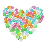 Bncxdc 200 piedras luminosas de guijarros brillantes, guijarros de jardín brillantes, guijarros de plástico de colores, piedras preciosas decorativas de colores falsos para jarrones, acuarios, peceras