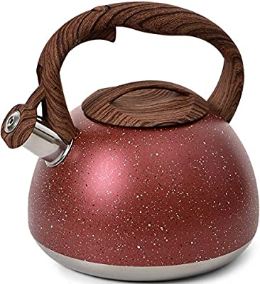 YIIFEEO 2.8 QT Stone Marble Finish Tea kettle, Stainless Steel Whistling Teapot, Stove Top Water kettle with Wooden Anti-heat Handle(Red)