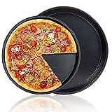 2 Pezzi Teglie per Pizza Rotonde,Teglia Antiaderente Forno Pizza,Teglia per Pizza,Acciaio al Carbonio,8'',9'',per Crostate,Torte,Pane,Cucina,Casa,Ristorante,Panetteria(Nero)