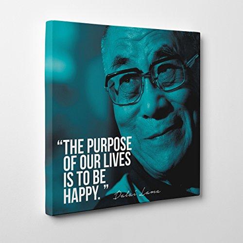 Bild auf Leinwand Canvas–Gerahmt–fertig zum Aufhängen–Dalai Lama Quotes–Zitat–Das Geheimnis des Glücks Dimensione: 50x50cm A - Senza Cornice