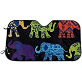 UQ Galaxy Parabrisas Sun Shade,Sombrillas Delanteras Parabrisas Delantero De Protección De Elefantes Negros para Minivan De Vehículos Automotrices 76 * 140cm