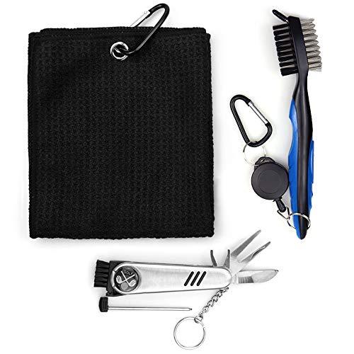 Otematik - Juego de accesorios para golf, cepillo de golf y toalla de microfibra para golf, herramienta de reparación plegable con marcador de golf, 3 en 1, color negro