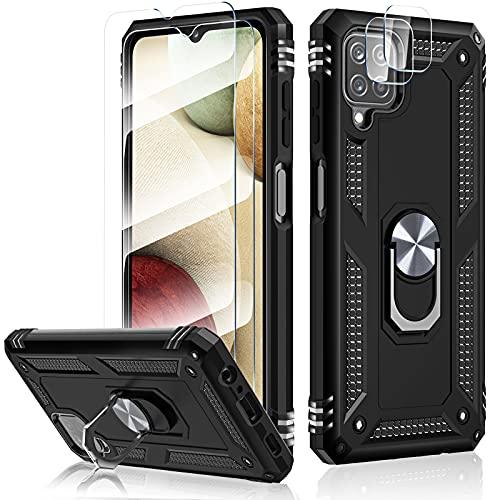 HATOSHI Funda con Samsung Galaxy A12 5G, con 2 Piezas Protector de Pantalla +2 Piezas Protector de Lente de Cámara, [Armor Grado Antigolpe] Cubierta de Teléfono con Soporte de Anillo Magnético, Negro