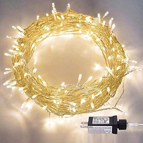 LED String Lights, 100LED 30V Plug in Fairy String Lights with 8 Modes for Indoor and Outdoor Party Wedding Home Patio Lawn Garden Supplies (Warm White)