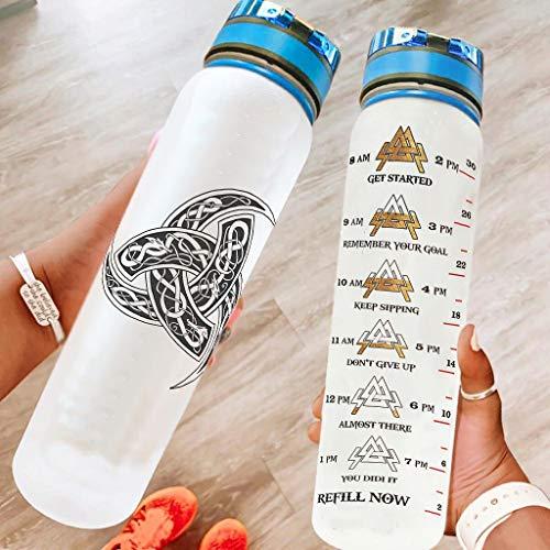 O3XEQ-8 Viking - Botella de agua con espejo de cuerno con correa de transporte, reutilizable, para deportes al aire libre, color blanco, 1000 ml