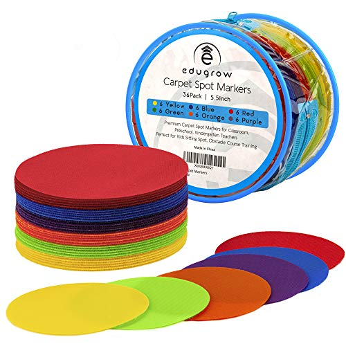 Social Distancing Floor Decals Carpet Markers for Classroom Carpet Spots 36 Pack Large 5,5 inch for Preschool and Kindergarten Colorful Nylon Circles Reusable Non-Slip Floor Teacher Aide