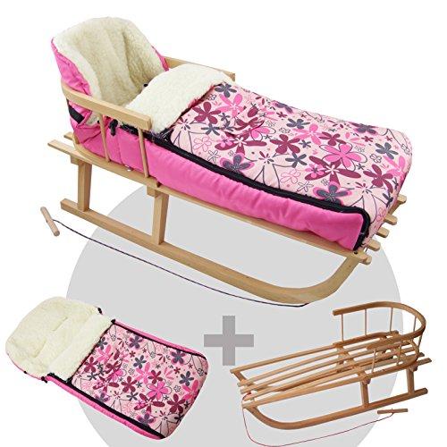 BAMBINIWELT combi-aanbieding houten slee met rugleuning & trekkoord + universele wintervoetenzak (108 cm), ook geschikt voor babyschaal, kinderwagen, buggy, van wol (roze bloemen)