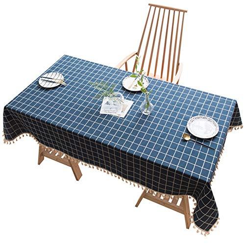 Mantel - Simple Mantel de Lino a Cuadros Sala de Estar Cocina Mesa de Centro Rectangular Mesa de jardín Mesa de decoración de Mesa de Tela Material Blando (Size : 110x110cm)