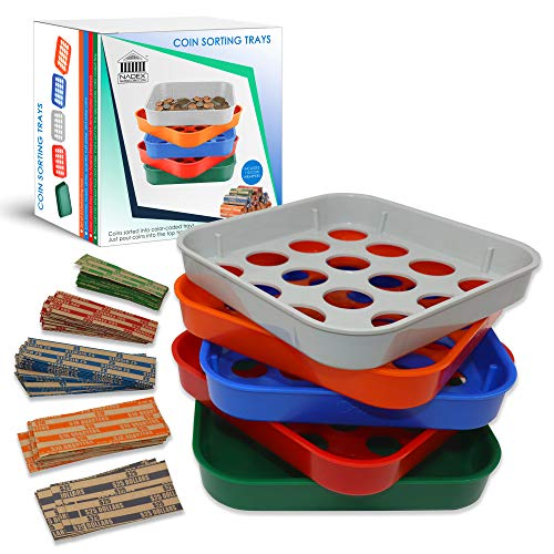 Nadex 5 Quick Sort Coin Organizing Trays   Color Coded Sorting Trays for Pennies, Nickels, Dimes, Quarters and Dollar Coins - 110 Coin Wrappers Included