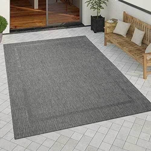 Tapis Intérieur Extérieur Tapis Cuisine Design Monochrome Sisal Bordure Noir, Dimension:200x280 cm