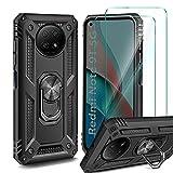 AROYI Funda Compatible con Xiaomi Redmi Note 9T 5G con 2 Unidades Cristal Templado Film, 360 Grados Anillo iman Soporte Bumper - Negro