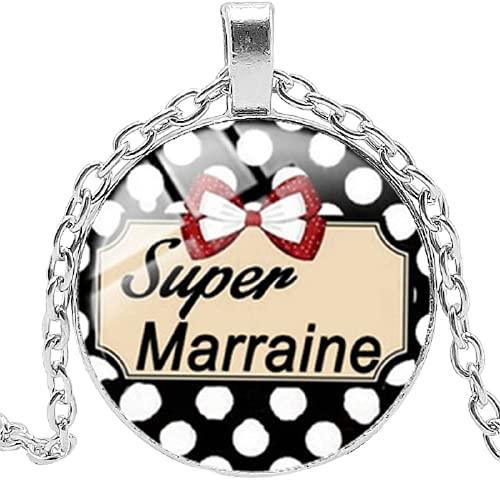 Super Marraine Parrain Collar de cristal convexo Je Suis Une Maman palabra francesa colgante collar regalo