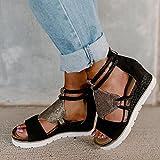 DZQQ Sandalias de tacón de cuña para Mujer, Punta Abierta, Boca de pez, Comercio Exterior, Sandalias de Estilo Romano, Zapatos con Cremallera, Zapatos de Talla Grande para Mujer