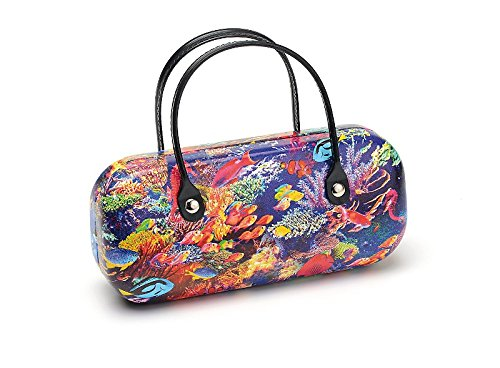 Schickes Brillenetui Brillenbox Handtaschen-Design Fische Hartschale mit Henkel