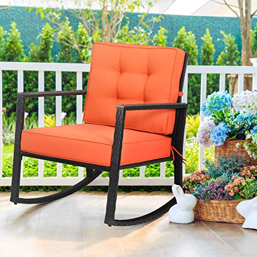 "Tangkula Wicker Rocking Chair, Outdoor Glider Rattan Rocker Chair with Heavy-Duty Steel Frame, Weight Capacity Up to 360 lbs, Suitable for Garden, Porch, Backyard, Poolside, with 5"" Thick Cushion"