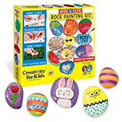 Rock painting kit for kids: spread kindness and positivity by painting and hiding rocks throughout your community. Customize your painted rocks so they are unique to you. Complete craft kit: rocks included in this Rock painting kit! This intro to roc...