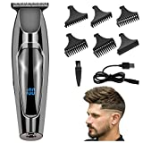 Électrique Tondeuse Cheveux Hommes, USB Tondeuse Cheveux Hommes Professionnelle avec Affichage LED/5 Peignes de Guidage, Tondeuse...