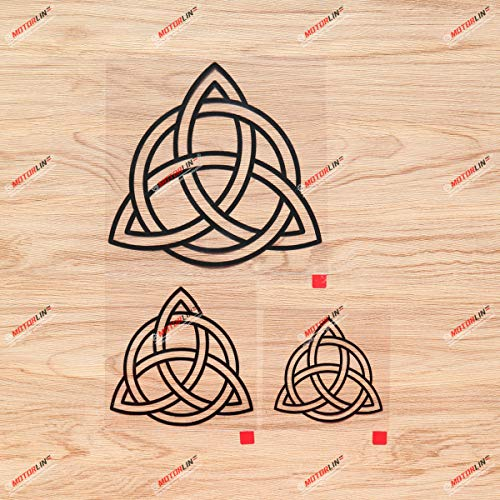 Triquetra Celtic Trinity Knot Symbol Vinyl Decal Sticker - 3 Pack Black, 3 Inches, 4 Inches, 6 Inches - No Background for Car Laptop Window Phone 06200