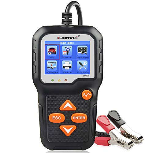 KONNWEI KW650 6V 12V KFZ Batterietester Ladesystem Analysator Farb-LCD-Display Lichtmaschine Batterieladetester für Motorrad-LKW SUV-Bootsjachtbatterien