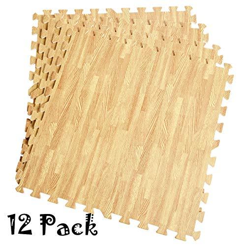 DREAMADE 12 Stück Schutzmatten 60x60, Bodenschutzmatten Puzzlematten Sportmatten, Unterlegmatten Fitnessmatten für Bodenschutz Fitnessraum Kinderzimmer Keller (Natur)