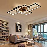 Modern LED Ceiling Light with Remote Control Dimmable Square Chandelier Flush Mount Metal Acrylic Panel Hanging Lamp for Home Living Room Bathroom Kitchen Bedroom Living Room Corridor,Black,35.43'/80W