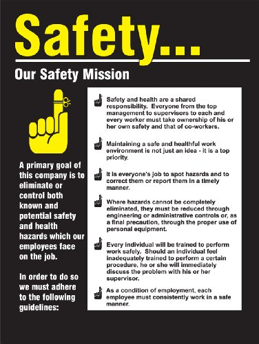 Accuform PST220 Safety Awareness Poster,'Safety.Our Safety Mission', 24' Length x 18' Width, Laminated Flexible Plastic