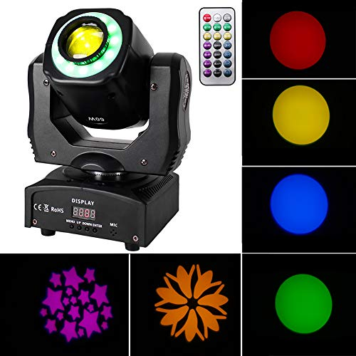 U`King 60W Moving Head Light RGBW Color Stage Lighting DJ Lights by Sound Activated DMX and Remote Control LED Beam Spotlight for Wedding Birthday Disco Parties Bar Church Live Show Wash Wall