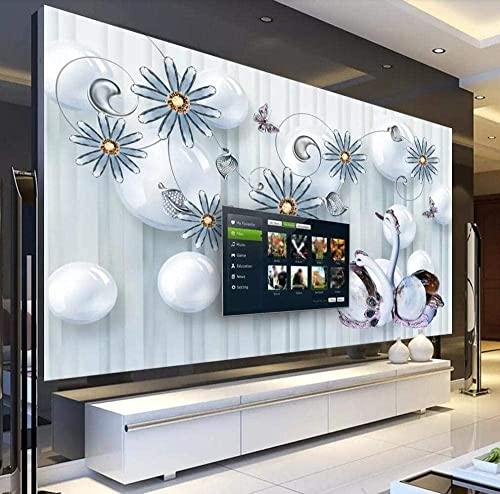 XHXI Mariposa Joyas Flor 3D TV Fondo Pared Dormitorio Murales Papel moderno 3D papel Pintado de pared tapiz Decoración dormitorio Fotomural-300cm×210cm