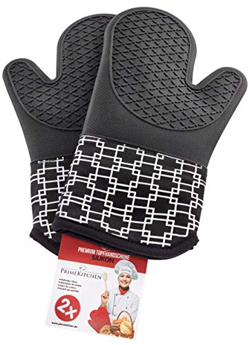 PrimeKitchen Topfhandschuhe aus Silikon & Baumwolle 2-teilig, Ofenhandschuhe für Küche und Grill, Topflappen - 1 Paar Schwarz