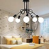 Edison - Lámpara de techo con 5 cabezales de metal hierro, vintage, industrial, lámpara de techo, lámpara de techo, lámpara de techo, E27, retro, comedor, habitación de hotel, recepción de iluminación