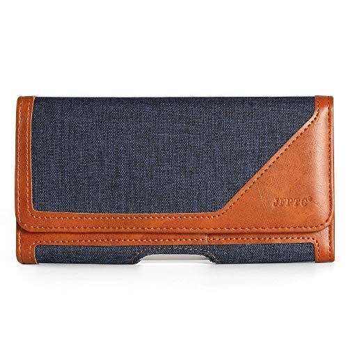 Horizontal Gürtelclip Holster Tasche Handyhalter mit Gürtelschlaufe Wallet ID Card Slots für Moto G7 Power / Z4 Play / Z3 Play / G6 Play / Galaxy A50 / A30 / J8 / A7 / Asus ZenFone AR / 5Q, L, blau